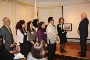 Ambassador Jose L. Cuisia, Jr., NEDA Deputy Director General Margarita R. Songco, PHC Executive Director Victoria B. Navarro (seated 3rd from left), US-Philippines Society President John Maisto (seated 4th from right) with PHC Directors and representatives from the PHC member-organizations during the Haiyan 2nd Anniversary Reflection on 06 November 2015.