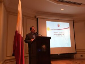 Atty. JV Chan-Gonzaga, Minister and Economic Officer at the Embassy, talks about Philippine and international laws on the elimination of violence against women and children during the Talakayan sa Pasuguan on 12 November 2015 at the Philippine Embassy.