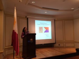 Marie Ramos, Outreach and Training Coordinator at the Asian/Pacific Islander Domestic Violence Resource Project, talks about addressing VAW and her experience in dealing with cases of domestic violence among the immigrant community in the United States during the Talakayan sa Pasuguan on 12 November 2015 at the Philippine Embassy.