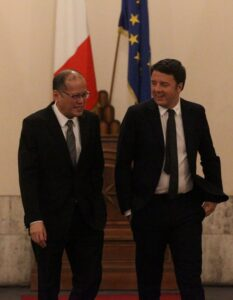 (ROME, Italy) President Benigno S. Aquino III shares a light moment with Italian Republic Prime Minister Matteo Renzi following their bilateral meeting at the Palazzo Chigi after the bilateral meeting on Wednesday (MNS photo)