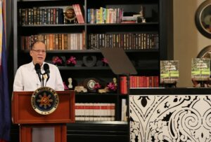 """President Benigno S. Aquino III delivers his message during the book launching of """"The Aquino Legacy: An Enduring Narrative"""" at the Writers' Bar of the Raffles Hotel in One Raffles Drive, Makati Avenue, Makati City on Thursday. (MNS photo)"""